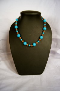 """Beach Pebbles."" 18"" beaded necklace and matching earring set made with multicolored stone and glass beads."