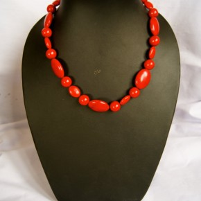 """Berry Red."" Red 18"" beaded necklace and matching earring set made with multicolored stone and glass beads."